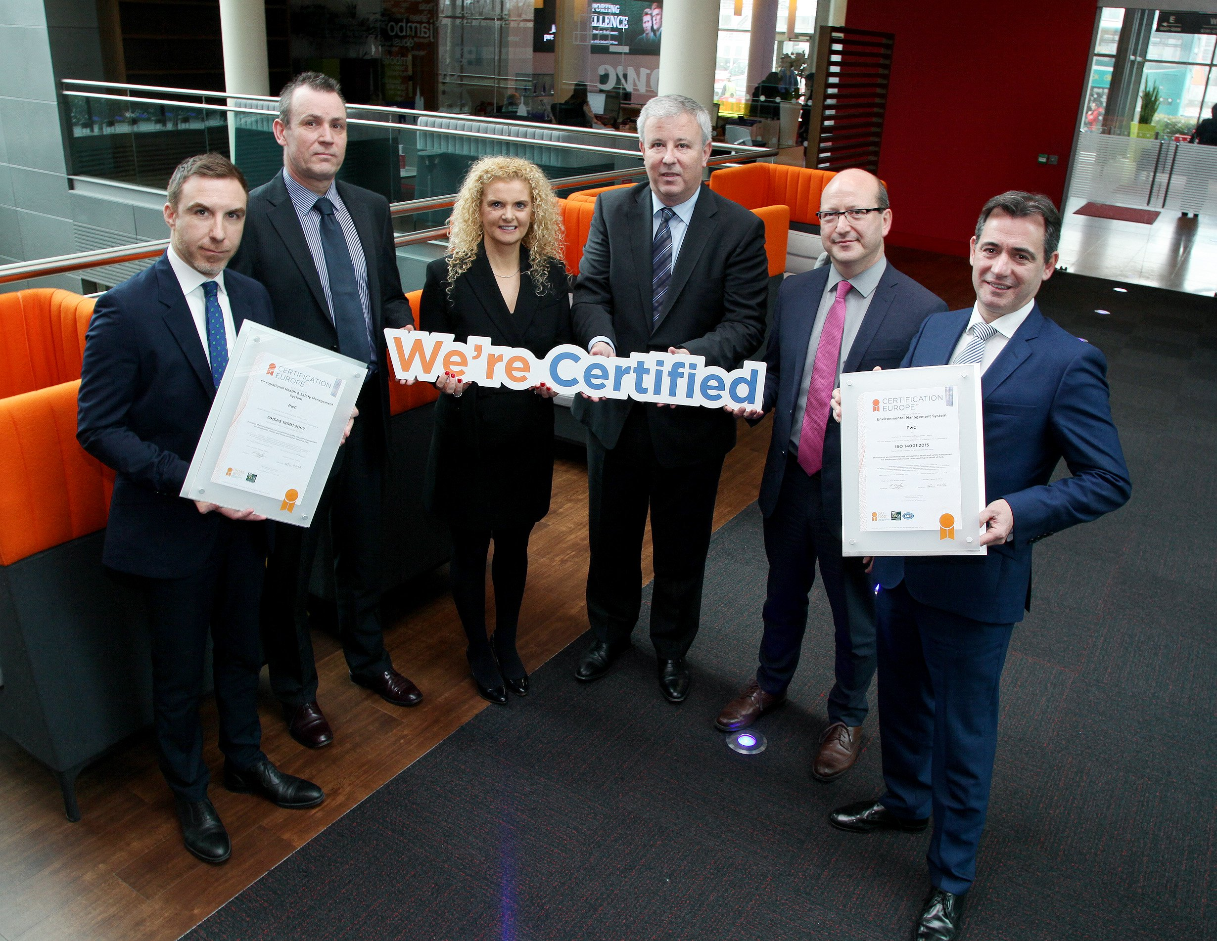 PwC Ireland awarded ISO 14001 & OHSAS 18001 Certification